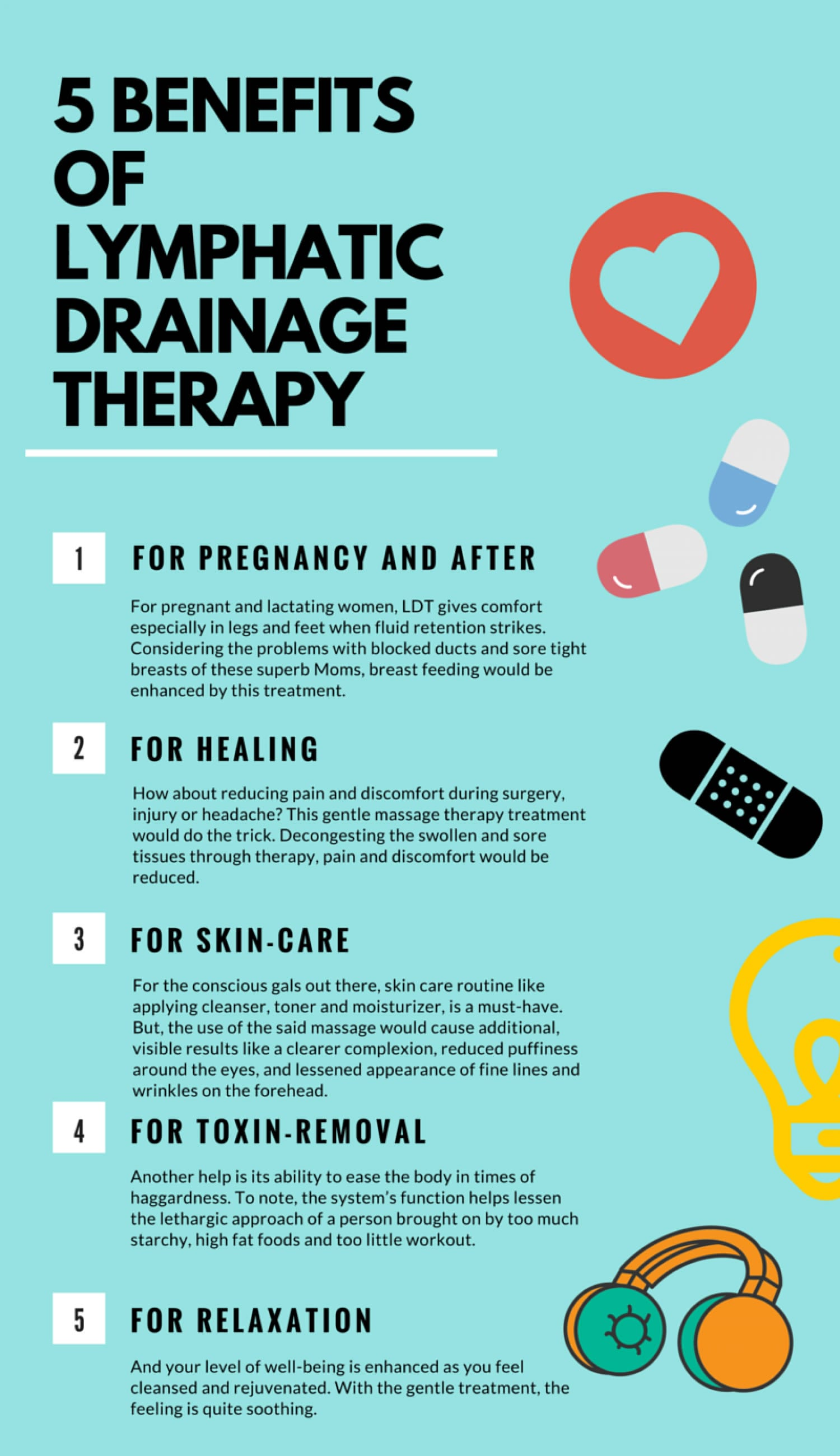 Chart showing the 5 benefits of Lymph Drainage Therapy